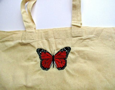 HOMEMADE CANVAS TOTE SHOPPING BAG WITH BEAUTIFUL EMBROIDERED BUTTERFLY